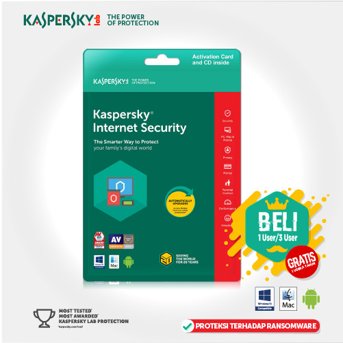 harga Kaspersky internet security 3 user 2018 [ original] Tokopedia.com