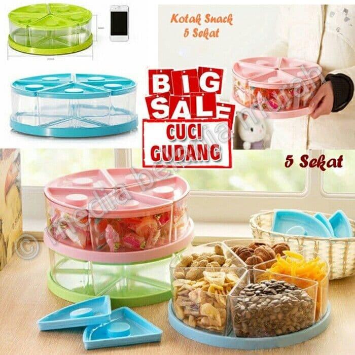 harga Kotak snack 5 sekat - toples lebaran - tempat kue unik - toples lucu Tokopedia.com