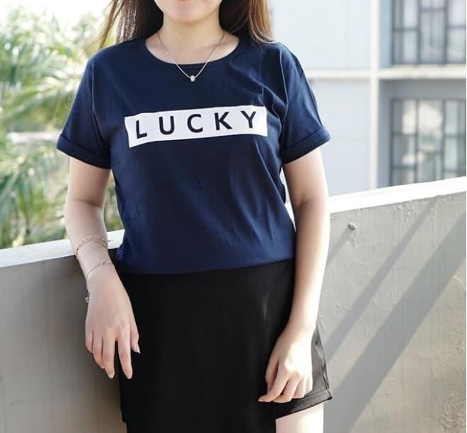 harga Baju kaos lucky tumblr tee t-shirt cewe cotton Tokopedia.com