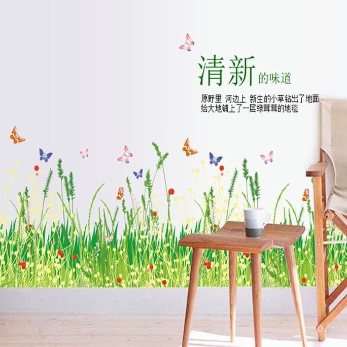 wall sticker 50x70/wall stiker transparan-AM7052-GRASS BEACH