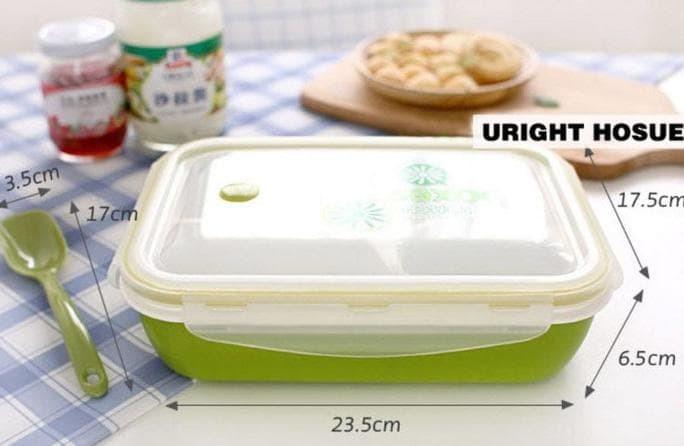 Lunch Box / Kotak Makan Sup Yooyee 4 Sekat / Bento / Green Red