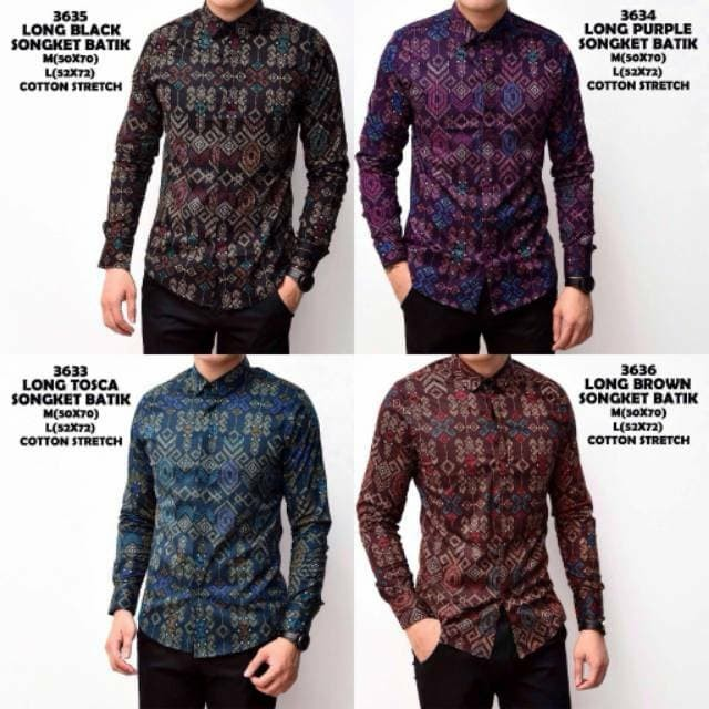 Jual Baju batik songket cowok lengan panjang  7bd592f4df