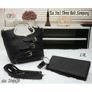 a2eb0a95760 Jual [COOL 93] three belt slempang Set tas (tas+jam+dompet) - Cool ...