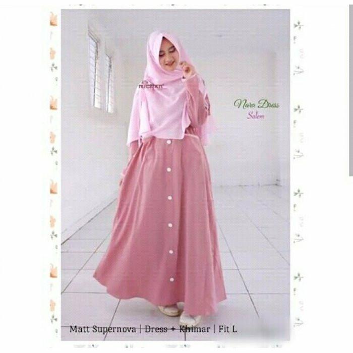 Baju muslim dewasa Nara dress - Salem, Fit L