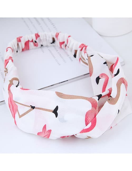 LRC Sweet White Flamingo Pattern Decorated Wide Hair Band A53639