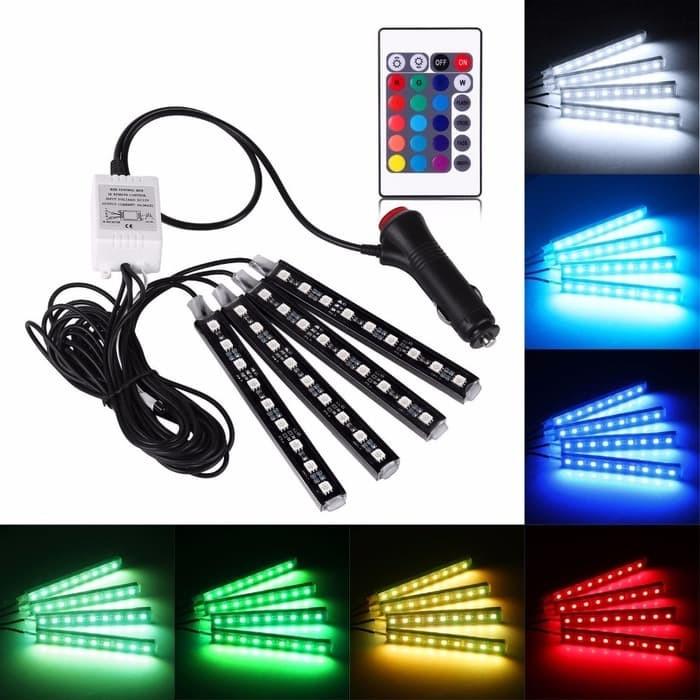 harga 4 pcs drl led kolong / lampu dekorasi dashboard 16 warna + remote rgb Tokopedia.com