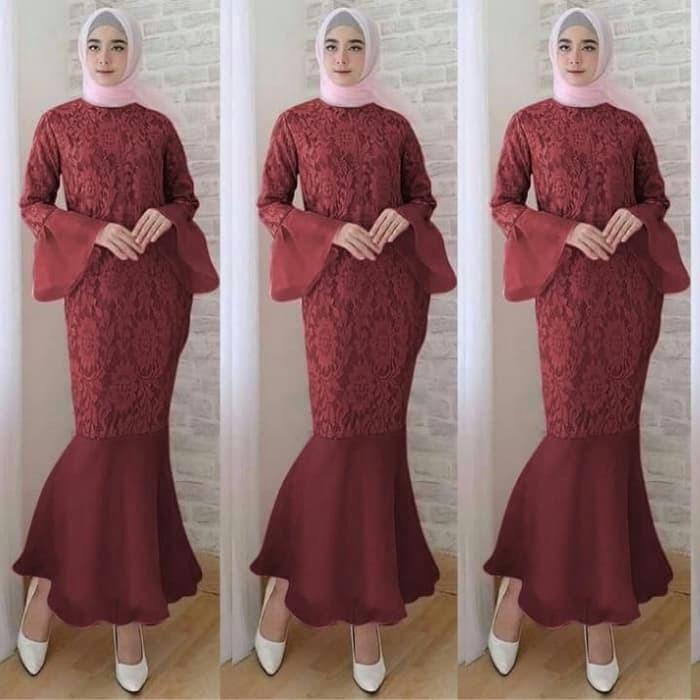 harga Dress brokat furing organdi duyung maxi pjg rst trp (e) l besar Tokopedia.com
