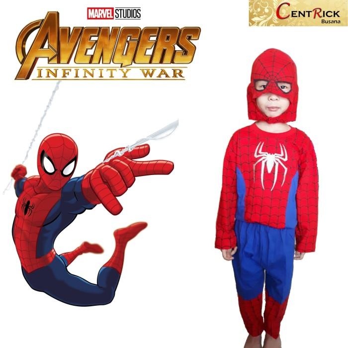 Kostum baju anak dengan topeng kain superhero spiderman avenger