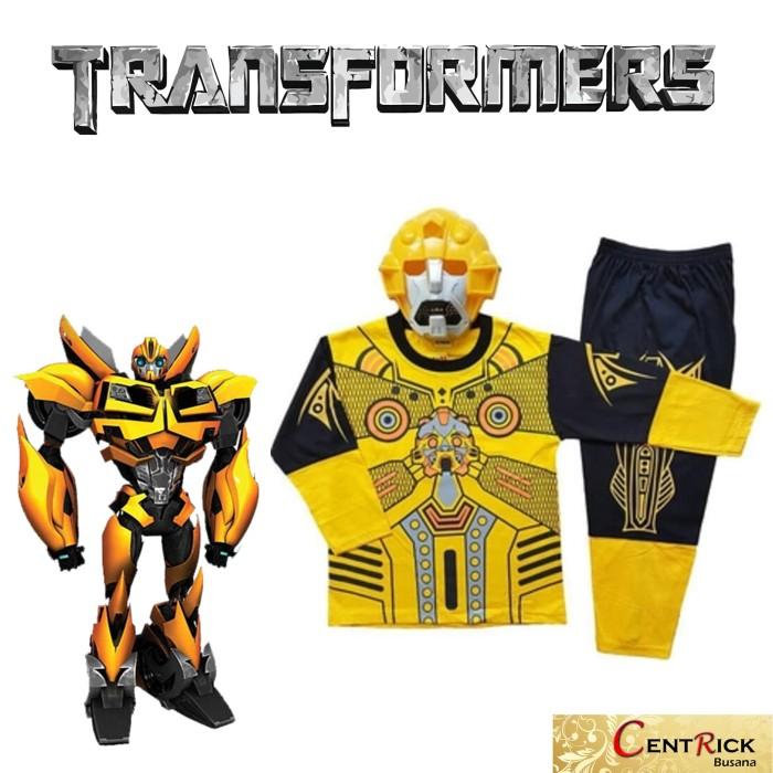 Kostum baju anak dengan topeng superhero transformers bumblebee