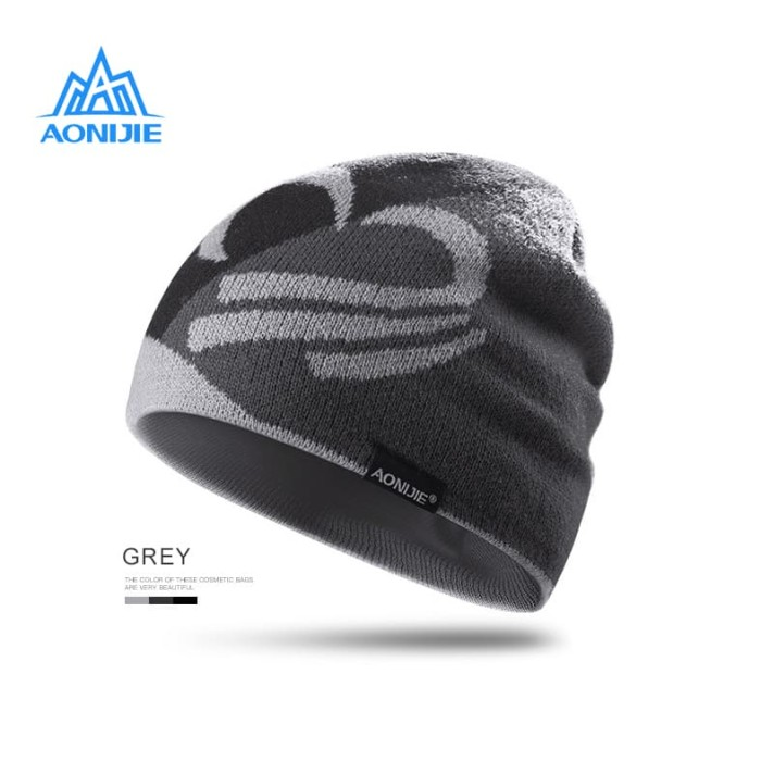 harga Aonijie m24 winter knitted cap - topi kupluk lari outdoor - gray .