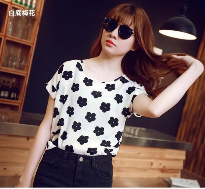 2018 Summer Woman Blouse Shirt Chiffon Floral Printing Short Sleeve El