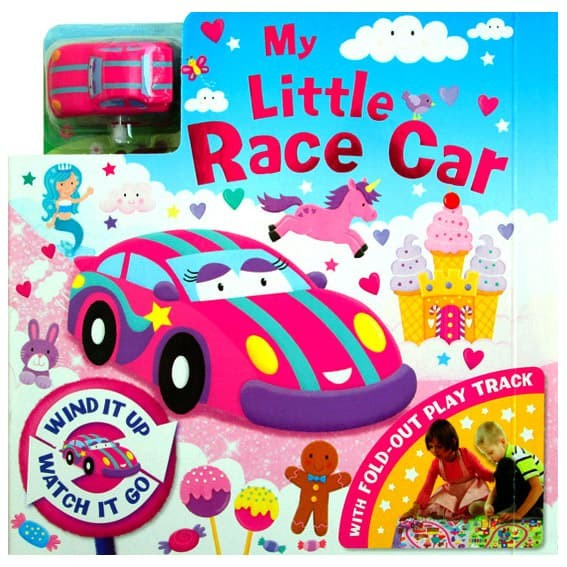 harga My little race car board book with fold-out play track and pink car wi Tokopedia.com