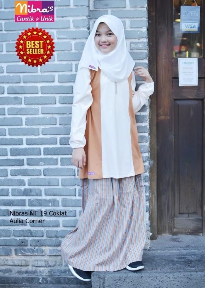 Gamis Setelan Remaja Nibras NT 19 Coklat ORIGINAL Baju Anak Perempuan