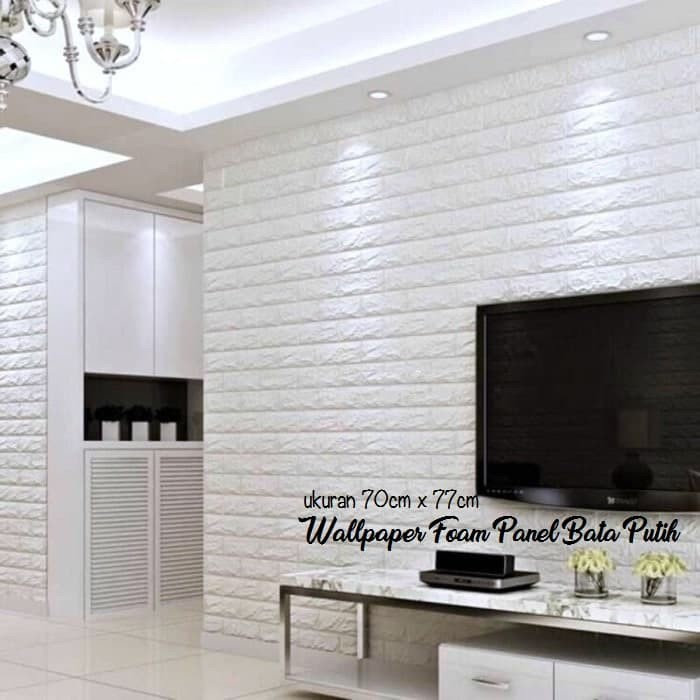 jual wallpaper foam 3d bata putih|white brick panel|classic brick