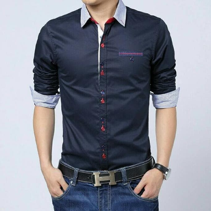 LIMITED EDITION NEW Venus Navy Kemeja Pria Style slim fit Casual