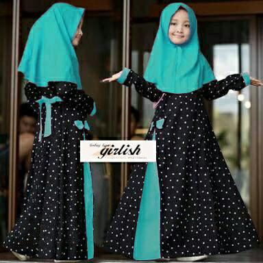 Baju muslim/gamis anak Syari kids vee DM katun fit 5- 9 tahun 1