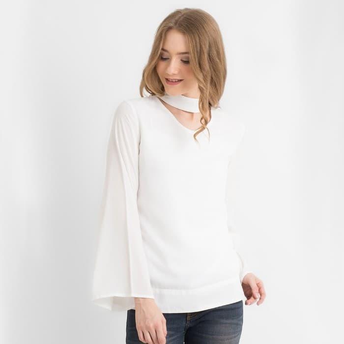 harga Dust - blus wanita noordwese rayon uniqlo putih (d 1156) - putih s Tokopedia.com