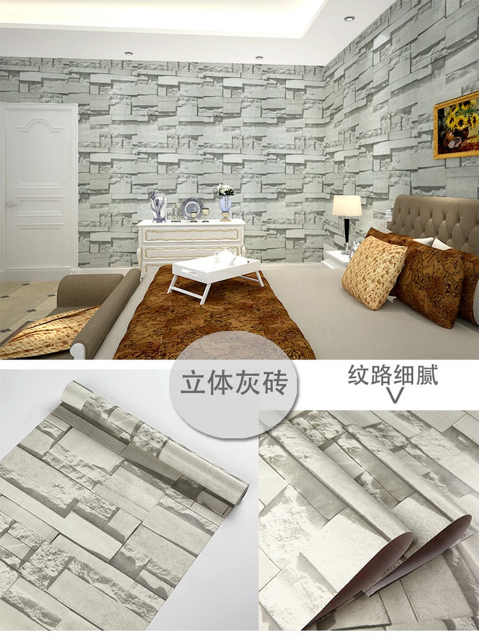 Foto Produk Wallpaper batu alam grey 45 cm x 10 mtr || Wallpaper dinding dari dedengkot wallpaper