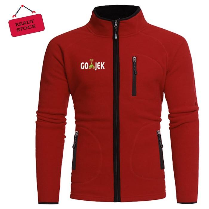 Jual Jaket Hoodie Zipper Merah Keren Dipakai Logo Gojek Kota