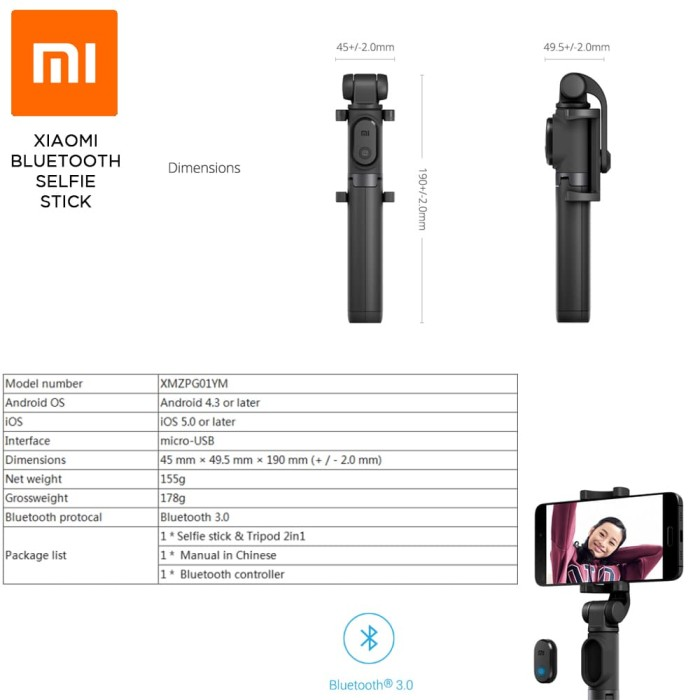 Xiaomi Selfie Stick / Tongsis Bluetooth Shutter Tripod Holder Original - Hitam .