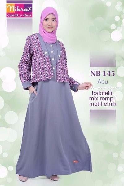 Jual Model Baju Gamis Pesta Nibras Nb 145 Abu Original Aulia