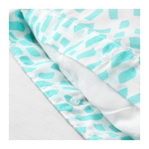SOMMAR 2018 Sarung quilt dan 4 sarung bantal, putih, toska 200x200