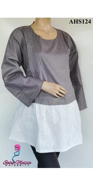 Baju Hamil dan Menyusui Polkadot Brukat AHS124 1
