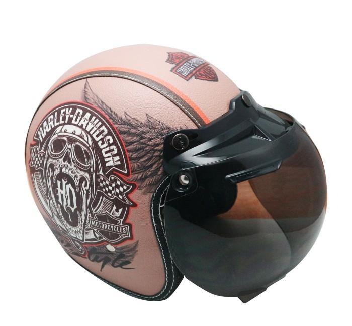 harga Helm retro bogo kulit hd wings kaca bubble halfface sni klasik Tokopedia.com