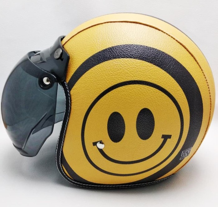 harga Helm emo smile retro/klasik/bogo kulit unik kaca bubble halfface sni Tokopedia.com
