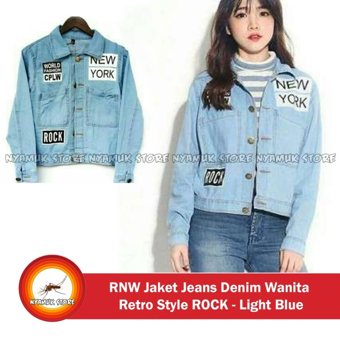 Jual RNW Jaket Jeans Denim Wanita Retro Style ROCK - Light Blue - Nyamuk  Store  0295bdf328