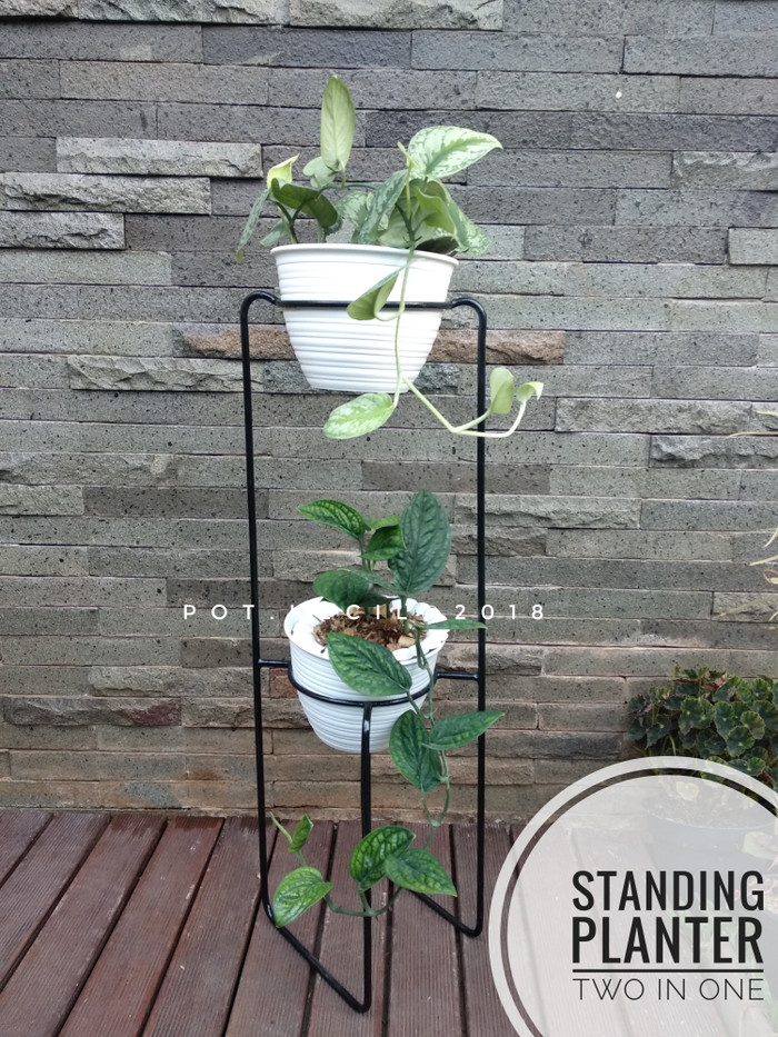... Standing planter 2 in 1 Standing minimalis Rak pot Hitam