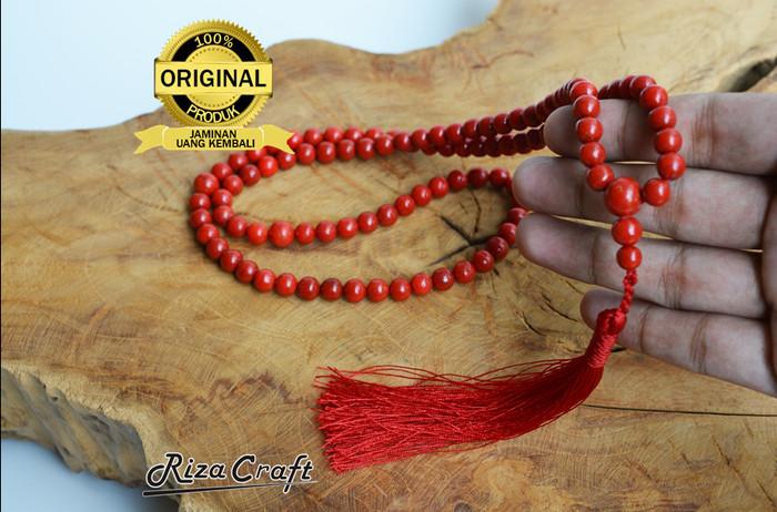 Tasbih Batu Akik Marjan Merah Red Coral Asli 99 Butir Kualitas Terbaik