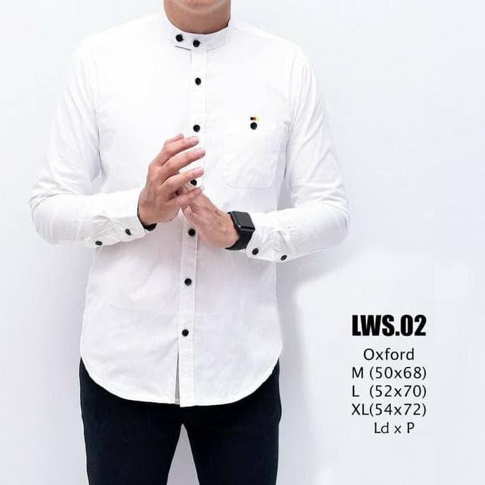 Kemeja Katun Pria Lengan Panjang Putih Polos Model Baju Koko Murah