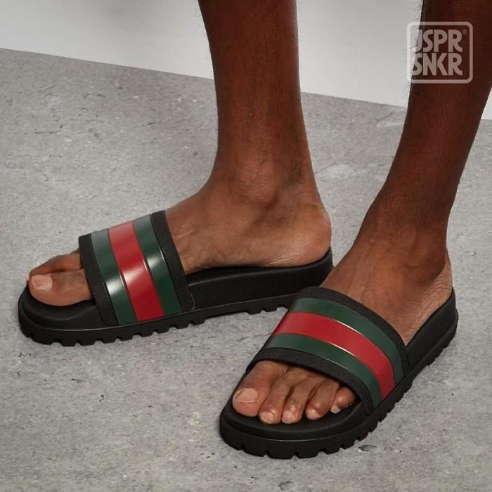 Guc*i Pursuit Trek Sandal - Black Red Green