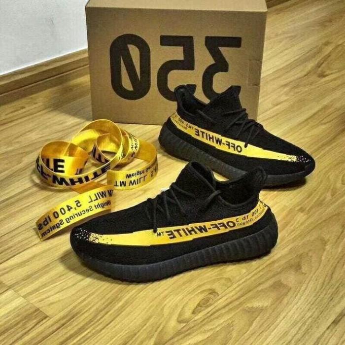 82e7a698c85eb Sepatu Pria - Off White x Adidas Yeezy Boost 350 V2 Black Yellow - PRM