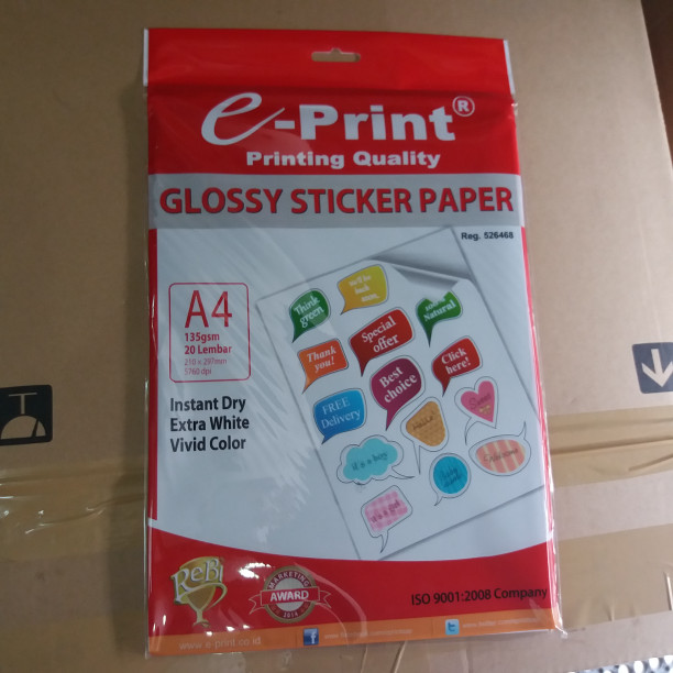 photograph about Sticker Printable Paper named Jual Shiny Sticker Paper E- Print 135Gsm / Kertas Stiker Shiny E-Print - DKI Jakarta - HM Stationary Tokopedia