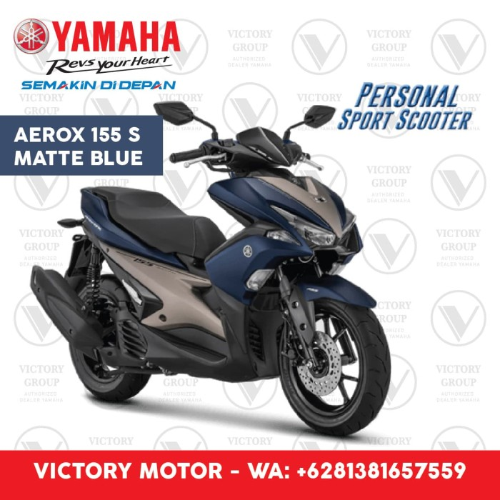 Jual Yamaha Aerox 155 Vva S Matte Blue Biru Bgr Yamaha Victory