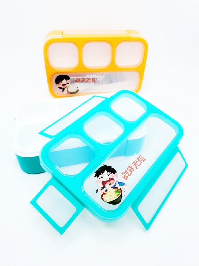Kotak makan yooyee mini 4 sekat tempat makan bekal lunch box