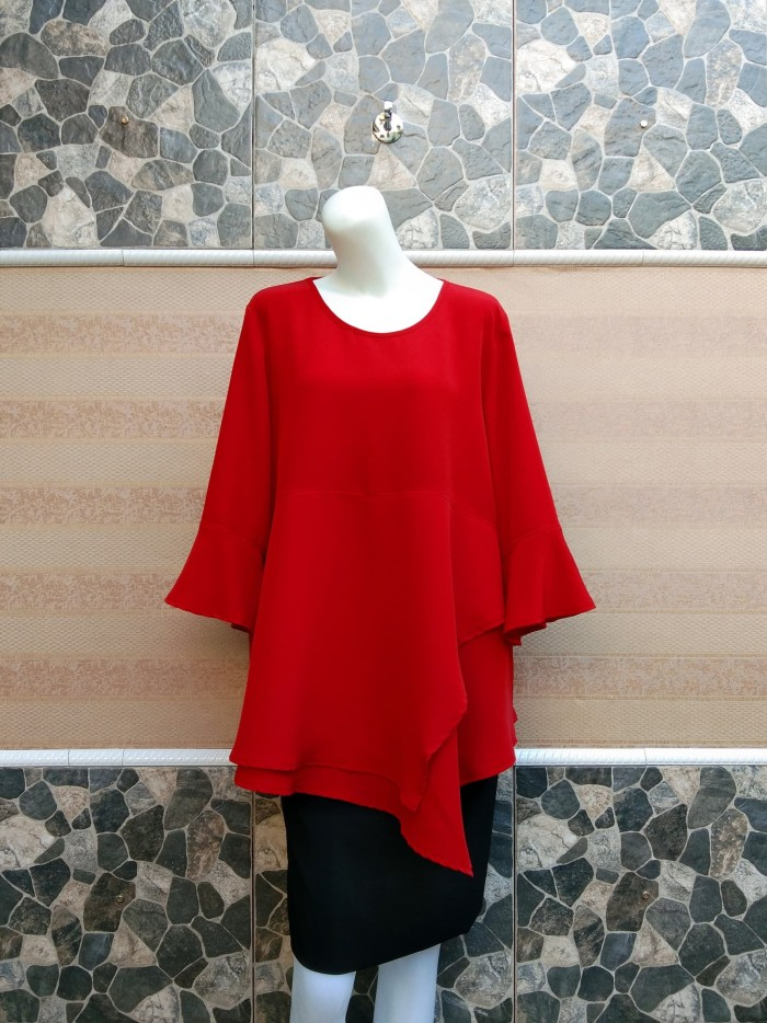 [MAY 2018] Blouse Wanita Big Size 2L, 3L & 4L Warna Merah