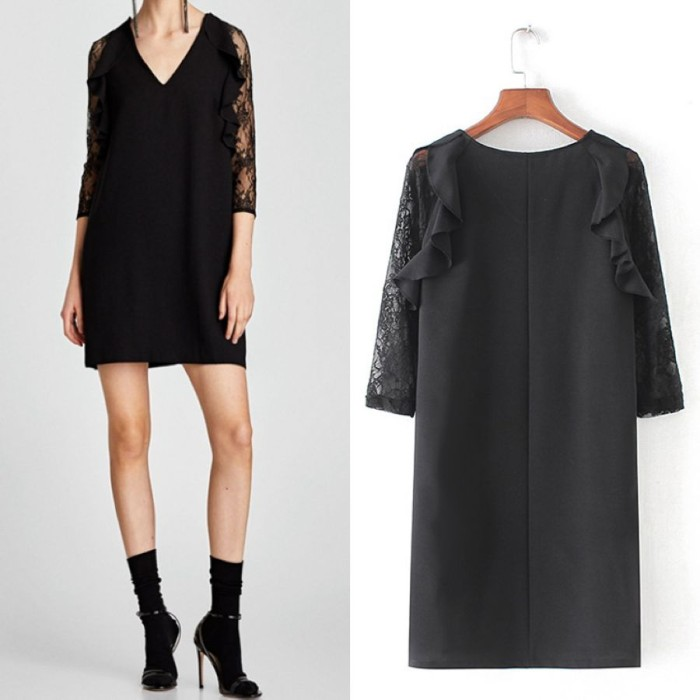 harga Mini dress gaun sexy black lace file (m) import original Tokopedia.com