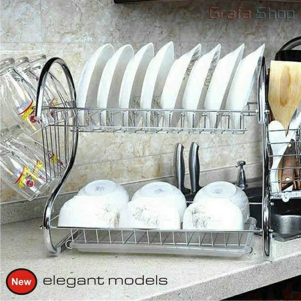 harga Rak piring stainless chrome 2 tingkat tempat gantung gelas sendok mini Tokopedia.com