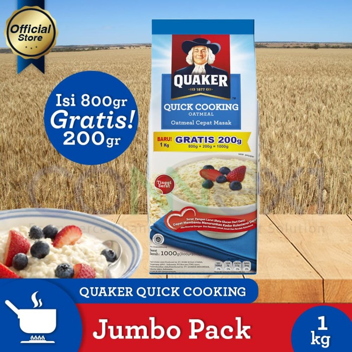 Quaker quick cooking oatmeal large pack 800+200gr [p]