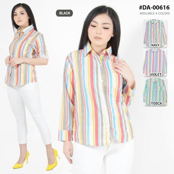 Atasan blouse wanita salur garis rainbow kemeja d 00616 murah .