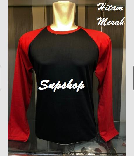 Desain Dapur Merah Hitam  jual kaos raglan polos pria wanita lengan panjang hitam merah hitam m jakarta selatan supshop tokopedia