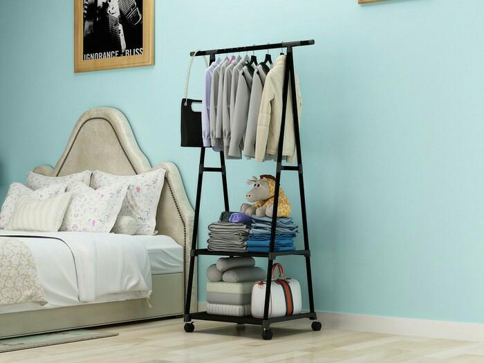 harga Stand triangle hanger serbaguna rak hanger pakaian baju rak buku 4roda Tokopedia.com