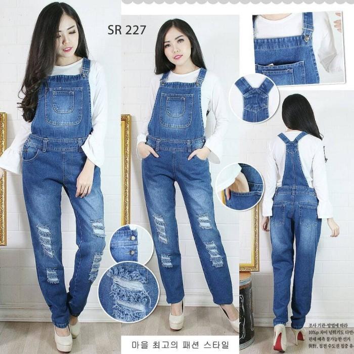 Jual Overall Jeans Robek Premium Ripped Celana Kodok Panjang
