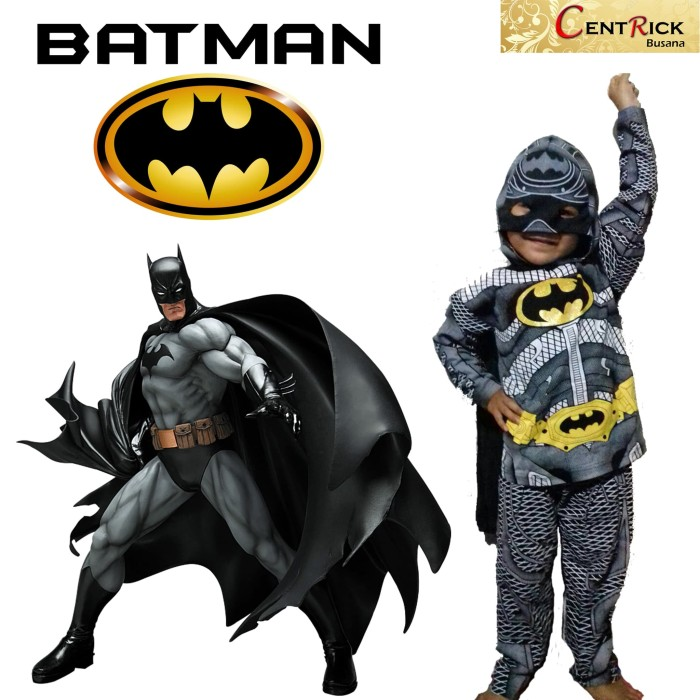 Kostum baju anak dengan topeng kain superhero batman