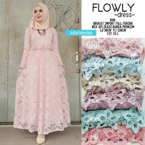 harga Long dress maxi wanita muslim gaun brokat lace flowly l Tokopedia.com
