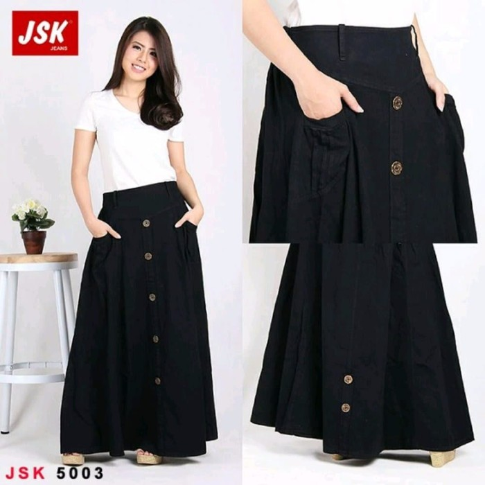 NEW Rok Panjang Polos Jeans Denim MAXI SKIRT MUSLIM TRENDY MODIS CEWE