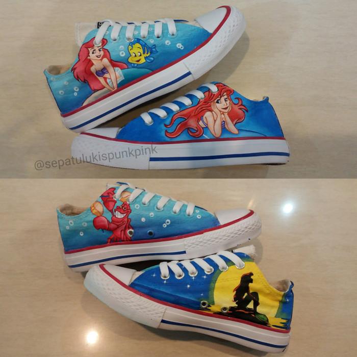 bc88a32e34 Jual Sepatu lukis low converse allstar disney princess ariel - Kota ...